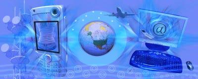 Commercio elettronico e tecnologia blu dell'intestazione Fotografia Stock