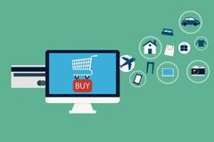 Commercio elettronico ed icone online di acquisto Fotografie Stock