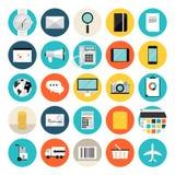 Commercio elettronico ed icone piane di compera Fotografie Stock Libere da Diritti