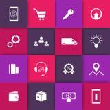 Commercio elettronico, icone online di web di acquisto sui quadrati, pittogrammi per il sito Web di commercio elettronico illustrazione di stock