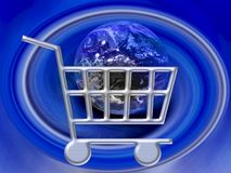 Commercio elettronico - Internet WWW del carrello di acquisto Fotografia Stock Libera da Diritti