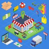Commercio elettronico isometrico di web piano 3d, e-business, acquisto online Fotografia Stock