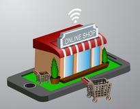 Commercio elettronico mobile di acquisto Fotografie Stock Libere da Diritti