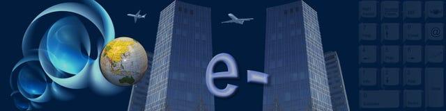 Commercio elettronico in tutto il mondo della bandiera Fotografia Stock