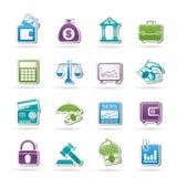 Commercio, finanze ed icone della banca Fotografie Stock Libere da Diritti