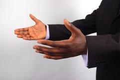 Commercio-Io qui (due mani) fotografie stock libere da diritti