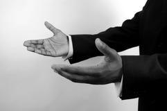 Commercio-Io qui (due mani) b/w fotografia stock libera da diritti