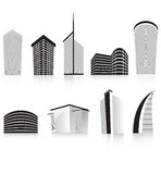 Commercio nero dell'ufficio che sviluppa architettura moderna Immagini Stock