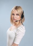 Commercio - operatore sexy della call center isolato Fotografie Stock