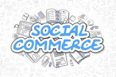 Commercio sociale - testo del blu di scarabocchio Concetto di affari royalty illustrazione gratis
