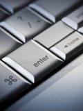 Commercio su un computer portatile Fotografia Stock