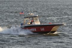 Commerical TowBoatU.S. towing vessel cruising across Acushnet Ri. New Bedford, Massachusetts, USA - September 3, 2018: Commerical TowBoatU.S. towing vessel stock images