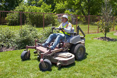 Commericial Lawn Mowing with Zero Turn Stock Photo