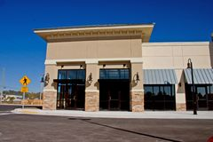 Commericial stone accents 4. Newly constructed commercial mall with stone accents on front faces Stock Images