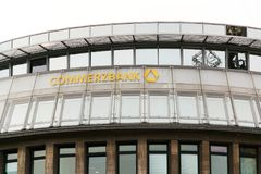 Commerzbank AG banking and financial services company logo on branch building stock images