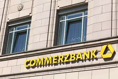 Commerzbank logo on a wall royalty free stock photo