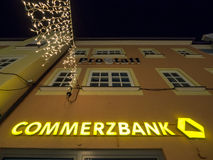 Commerzbank at night royalty free stock photo