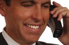 Commesso sul telefono Immagini Stock