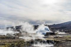 Commin caliente del vapor fuera de los géiseres Foto de archivo libre de regalías