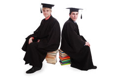 Comminication. Portrait of a young peoplein a academic gown. Education background Stock Photo