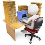 commis 3D travaillant dans le bureau avec beaucoup pour faire Images stock