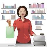 Commis de sourire de ventes de fille tenant un panier illustration stock
