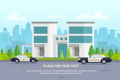 Commissariat de police de ville sur le fond urbain - illustration moderne de vecteur illustration stock