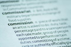 Commission. Close up of the dictionary definition of commission Stock Images