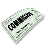 Commission Check Sale Compensation Pay Income Money. Commission check on angle to represent your income, money earned or compensation from a sale or a bonus on a Royalty Free Stock Images