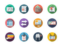 Commission store round flat color icons Stock Photography