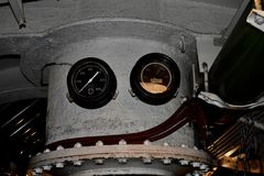 Inside the cramped space of the USS Pompanito, SS-383, 8. Commissioned on 6 November 1943 and arrived at Pearl Harbor 14 February 1944. She was decommissioned stock photography