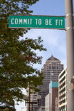 Commit to be Fit sign. Street sign promoting a healthy lifestyle in Columbus Ohio. Commit to be Fit sign royalty free stock images