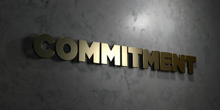 Commitment - Gold text on black background - 3D rendered royalty free stock picture Stock Photography