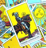 Knight of Pentacles Tarot Card Building a Business/Empire Business Man Investing in Future. Commitment Hard Worker Disciplined Patient Great Effort Toil for stock image