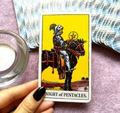 Knight of Pentacles Tarot Card Building a Business/Empire Business Man Investing in Future. Commitment Hard Worker Disciplined Patient Great Effort Toil for royalty free stock images