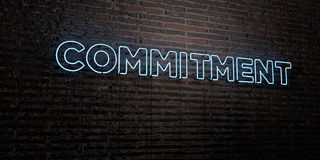 COMMITMENT -Realistic Neon Sign on Brick Wall background - 3D rendered royalty free stock image Royalty Free Stock Photography