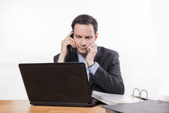Committed employee bad news at phone Royalty Free Stock Photo