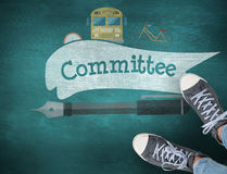 Committee against green chalkboard Stock Photos