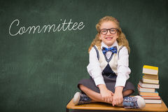 Committee against green chalkboard Royalty Free Stock Photography