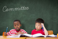 Committee against green chalkboard Stock Photo