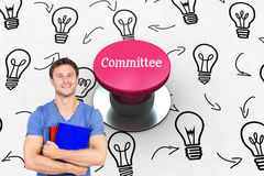 Committee against pink push button Royalty Free Stock Images