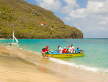 The committee boat for an annual regatta in the caribbean Stock Image
