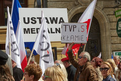 Committee for the Defence of Democracy supporters protesting in Wroclaw. On 03.04.2016 Royalty Free Stock Photography