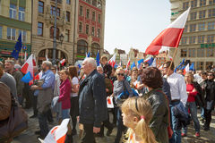 Committee for the Defence of Democracy supporters protesting in Wroclaw. On 03.04.2016 Royalty Free Stock Photos