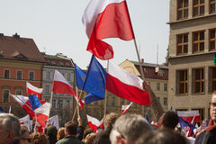 Committee for the Defence of Democracy supporters protesting in Wroclaw. On 03.04.2016 Stock Photography