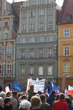 Committee for the Defence of Democracy supporters protesting in Wroclaw. On 03.04.2016 Stock Image
