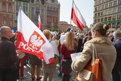 Committee for the Defence of Democracy supporters protesting in Wroclaw. On 03.04.2016 royalty free stock image