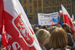Committee for the Defence of Democracy supporters protesting in Wroclaw. On 03.04.2016 royalty free stock photo