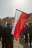 Committee for the Defence of Democracy supporters protesting in Wroclaw. On 03.04.2016 stock photos