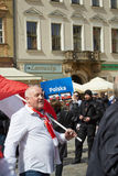 Committee for the Defence of Democracy supporters protesting in Wroclaw. On 03.04.2016 stock photo